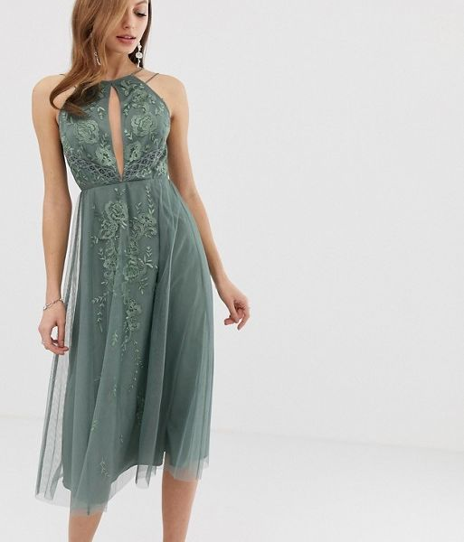 cc1c0019b01 ASOS DESIGN double strap midi dress with lace inserts floral embroidery  Khaki Green