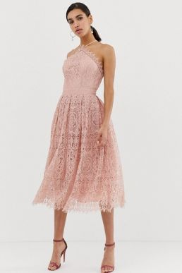 ASOS DESIGN lace midi dress with pinny bodice Pink Blush