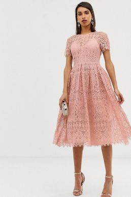 ASOS DESIGN lace midi with ribbon tie and open back Pink Blush