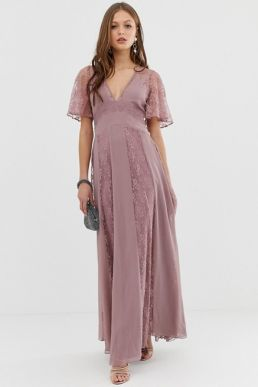 ASOS DESIGN maxi dress with flutter sleeve and all over lace insert blush pink
