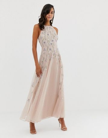 ASOS DESIGN maxi dress with pinny bodice in embroidered dobby Soft Blush