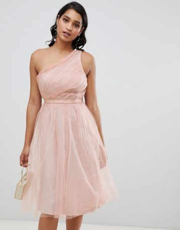 ASOS DESIGN one shoulder tulle midi dress with glitter lining Pink Blush