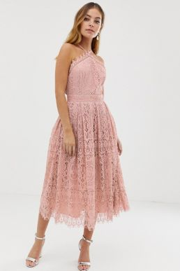 ASOS DESIGN Petite lace midi dress with pinny bodice Pink Blush