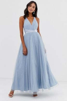 ASOS DESIGN Premium Tulle Maxi Prom Dress With Ribbon Ties Dusky Blue
