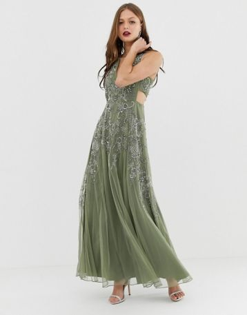 ASOS DESIGN sleeveless embellished maxi dress with cut out waist Khaki Green