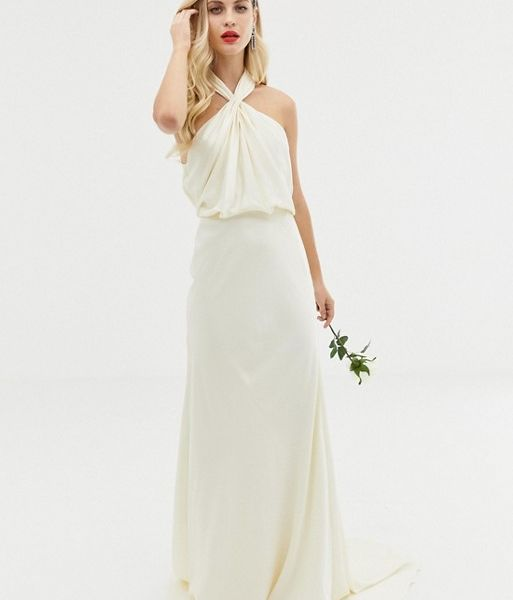 b2189f2649b ASOS EDITION ruched halter neck maxi wedding dress Ivory