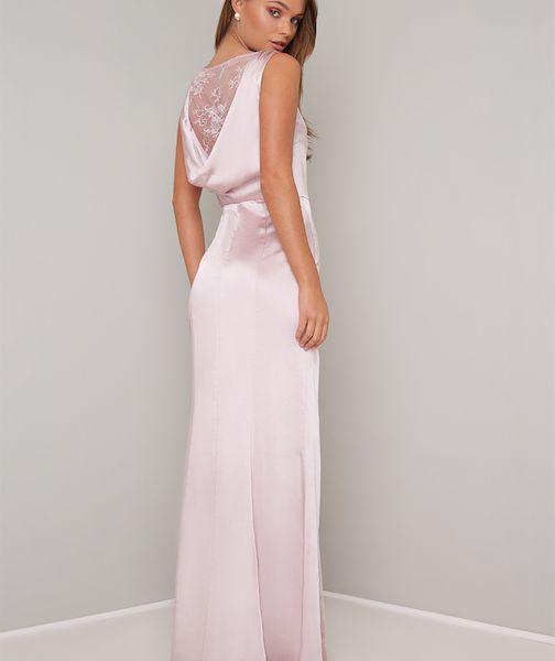 Chi Chi Ayse Lace Cowl Back Bridesmaid Maxi Dress Pinkblush