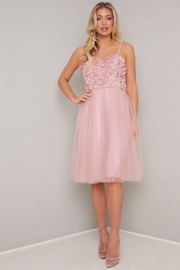 Chi Chi Elia Floral Appliqué Short Bridesmaid Dress Pink Blush