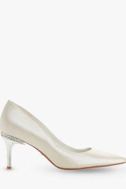 Dune Bells Jewel Heel Pointed Toe Court Shoes Ivory