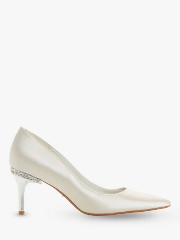 Dune Bells Jewel Heel Pointed Toe Court Shoes Ivory