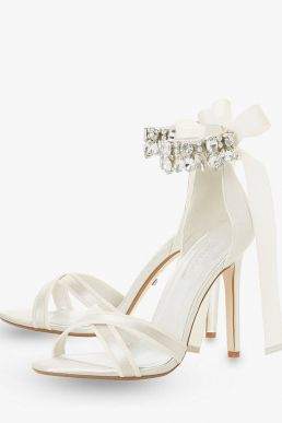Dune Bridal Collection Mrs Crystal Ankle Tie Stiletto Sandals Ivory