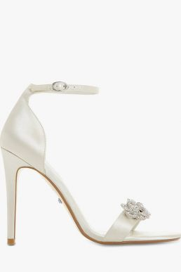Dune Marry Me Bridal Collection Embellished Stiletto Heel Sandals Ivory Satin