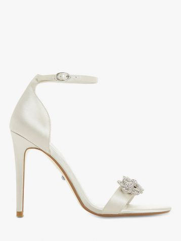 Dune Marry Me Bridal Collection Embellished Stiletto Heel Sandals Ivory Satin
