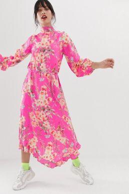 Essentiel Antwerp Sza floral print sleeve midi dress pink multi
