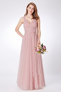 Ever Pretty Maxi A Line Empire Bridesmaid V Neck Sleeveless Dress Blush 07303
