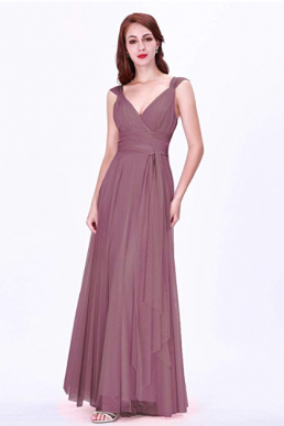Ever Pretty Maxi A Line Empire Bridesmaid V Neck Sleeveless Dress Orchid 07303