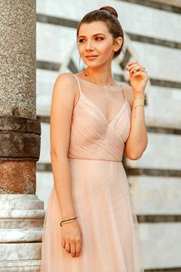 Ever Pretty Maxi Ruched Empire Bridesmaid V Neck Sleeveless Dress Blush 07369