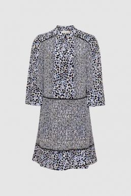 Reiss Anush floral printed tea dress white blue