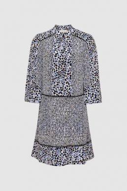 Reiss Anush floral printed tea dress white blue