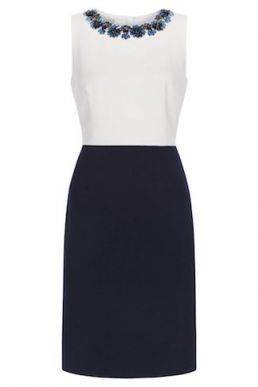 Hobbs Arizona Embellished Shift Dress Navy Ivory