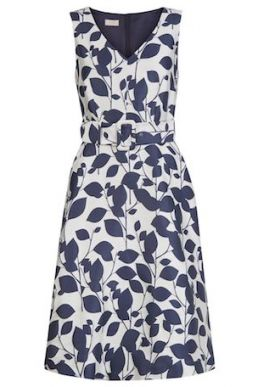 Hobbs Grace Leaf Print Dress Ivory Navy Blue