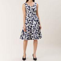 a2a2f96d61 Hobbs Grace Leaf Print Dress Ivory Navy Blue