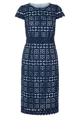 Hobbs Mabelle Lace Shift Dress Blue
