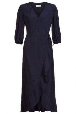 Hobbs Sara Sleeve Wrap Dress Navy
