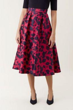 Hobbs Hermione Print Skirt Navy Pink