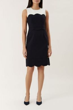 Hobbs Taylor Colour Block Shift Dress Navy White