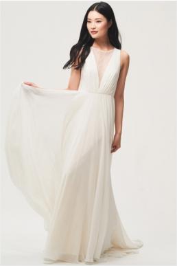 Jenny Yoo Fallon Plunging V Neck a Line Chiffon Wedding Dress Ivory