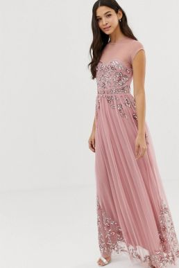 Maya all over premium embellished mesh cap sleeve maxi dress vintage rose Pink