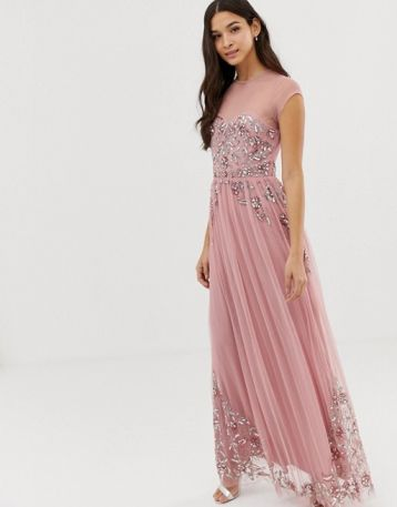 Maya all over premium embellished mesh cap sleeve maxi dress vintage rose Pink