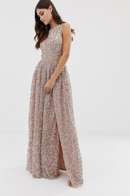 Maya all over contrast tonal delicate sequin dress taupe blush