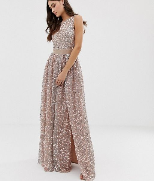 7aff7757c0e Maya all over contrast tonal delicate sequin dress, taupe/blush ...