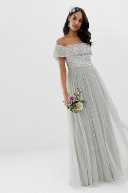 Maya Bridesmaid bardot maxi tulle sequin dress soft grey silver