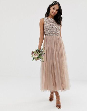 Maya Bridesmaid sleeveless sequin midi tulle bridesmaid dress taupe blush