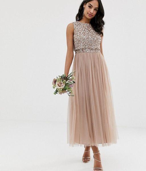 30a7c651a2d Maya Bridesmaid sleeveless sequin midi tulle bridesmaid dress taupe blush