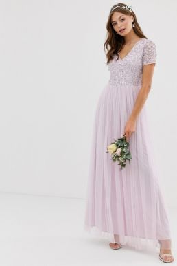 Maya Bridesmaid v neck maxi tulle dress with tonal delicate sequin in soft lilac