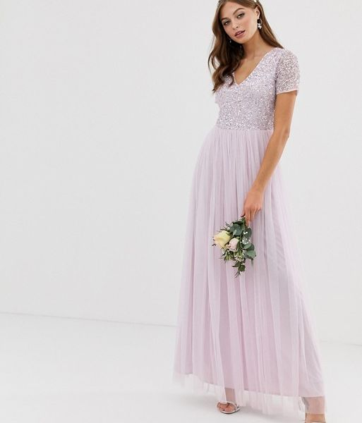 3090ac97 Maya Bridesmaid v neck maxi tulle dress with tonal delicate sequin in soft  lilac