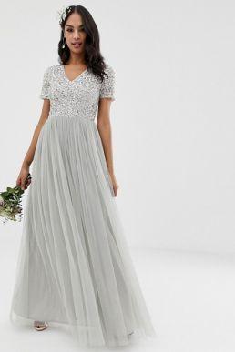 Maya Bridesmaid v neck maxi tulle sequin dress grey silver