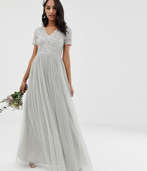 e34373d13db80 Maya Bridesmaid v neck maxi tulle sequin dress grey silver. Maya Bridesmaid  v neck maxi tulle sequin dress grey silver
