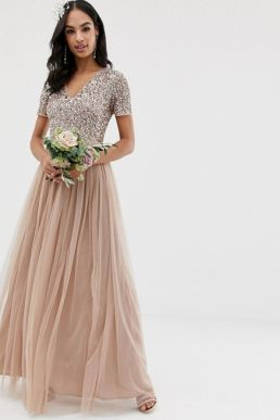 Maya Bridesmaid v neck sequin maxi tulle bridesmaid dress Taupe blush