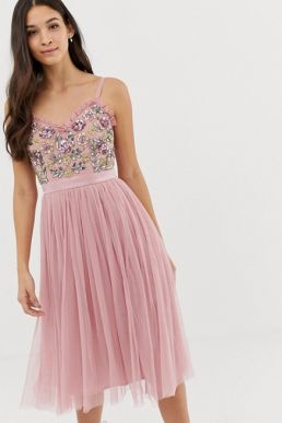 Maya cami strap contrast embellished top tulle detail midi dress in vintage rose Pink