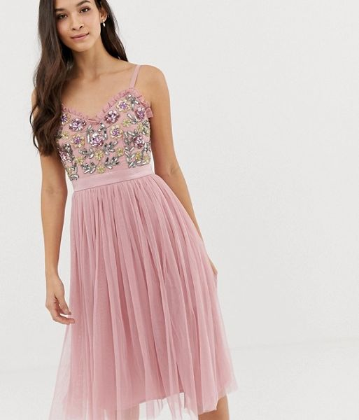 efa2d8455d2a0 Maya cami strap contrast embellished top tulle detail midi dress in vintage  rose Pink