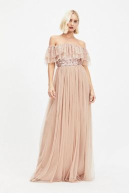 MAYA Pale Pink Bardot Sequin and Tulle Maxi Dress