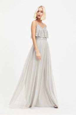 MAYA Silver Layer Sequin and Tulle Maxi Dress