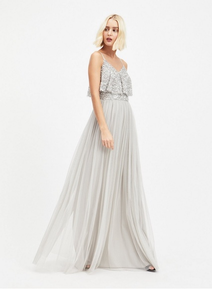 a10978f521 MAYA Silver Layer Sequin and Tulle Maxi Dress | myonewedding.co.uk