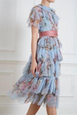 Needle and Thread Venetian Rose Tulle Dress Blue Multi