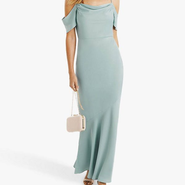 Oasis Amy Slinky Cowl Neck Maxi Mint Green